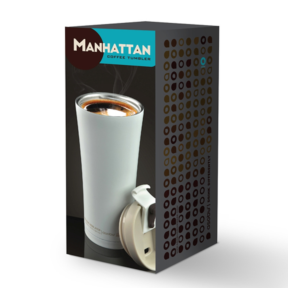 Термокружка Manhattan coffee tumbler серая, 0.5 л (Asobu V700 smoke)